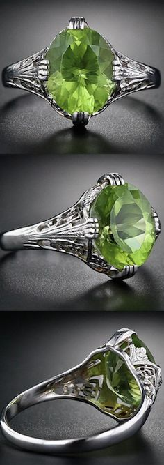 *Peridot Art Deco Ring, A sweet green Jolly Rancher-color peridot mostly speaks for itself in this pierced and filigreed 18 karat white gold ring, circa 1930, tastefully adorned with neoclassical design elements.