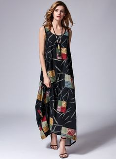 Cotton Linen Sleeveless Maxi Casual Dresses (1032590) @ floryday.com