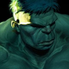 Hulk painting from earlier this year. #hulk #marvel #comics #art #superhero #portrait #face #hero #smash #green #angry