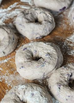 These homemade Blueberry Bagels have a sweet blueberry flavor and toast up beautifully! You'll love having fresh bagels for breakfast, and they take less than 2 hours to prepare. Blueberry Bagel, Whole Wheat Bagel, Bagel Bread, Homemade Bagels, Bagel Recipe, Recipe Of The Day, Favorite Recipes, Breakfast, Cinnamon Bread