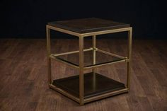 James Side Table Tubular Steel Frame in Pale Gold Finish with Wood and Glass Inset Shelves