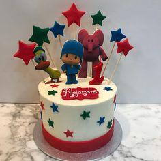 Tarta buttercream Pocoyo y estrellitas. Birthday Cake, Cupcakes, Party, Desserts, Food, Fondant Cakes, Lolly Cake, Candy Stations, Pocoyo