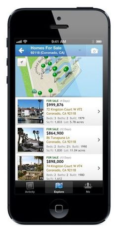 The Homesnap app is a real estate app for iPhone or iPad. Snap a photo of a house and the app displays real estate information like last sale and date, local schools, number of bedrooms/bathrooms and current value.