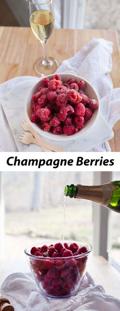 Champagne berries are a super simple recipe that you can serve all on their own, alongside a cheese. Champagne Recipe, Champagne Drinks, Cocktails, Raspberry Recipes, Cheesecake Desserts, Finger Food Appetizers, Fruit Drinks, Tea Recipes, Recipies