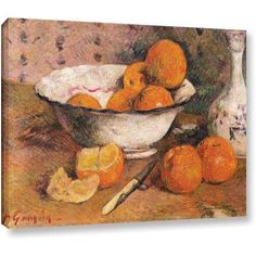 ArtWall Paul Gauguin Still Life with Oranges Gallery-wrapped Canvas, Size: 24 x 32, Brown
