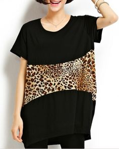 Sexy leopard t shirt for women oversize long t shirts f3582780567c
