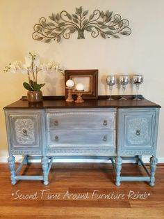 Jacobean Buffet painted grey with white wax and dark chocolate stained top