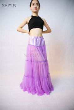 NORIVIIQ NEW Long Purple Bridal Petticoat Crinoline Soft Net Underskirt For Slip