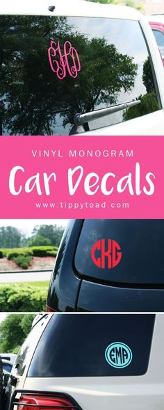 Adorable vinyl monogram stickers for accenting car windows, dorm windows, laptops, iPads, and more. A great birthday gift idea for a sweet sixteen party and for college send-offs or recent high school grads. Pre-cut with your monogram initials and measuring 5 inches, choose from 5 different monogram styles for your personalization. Decals are available in 15 vibrant color options. To order, visit http://www.tippytoad.com/5-inch-monogram-vinyl-decals.asp