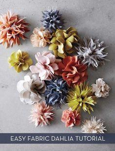 Easy Fabric Dahlia Sewing Tutorialhttp://www.flaxandtwine.com/2014/05/fabric-flower-tutorial/