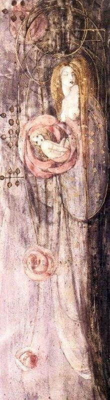 The Sleeping Princess by Frances MacDonald McNair, 1896. Watercolour (I've rotated this 90° to the left)