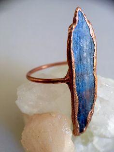 Kyanite Ring // Kyanite and Copper Electroformed Rings // // Rough Stone Ring // Diplomacy St . - Kyanite ring // kyanite and copper electroformed rings // // rough stone ring // diplomacy stone ri - Boho Rings, Boho Jewelry, Jewelry Rings, Fine Jewelry, Raw Stone Jewelry, Raw Stone Rings, Crystal Jewelry, Jewelry Ideas, Jewelry Making