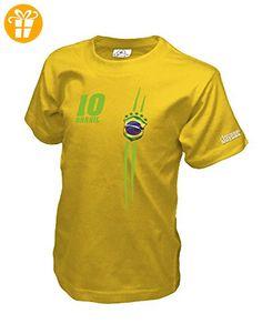 BRASIL FAN SHIRT - BRASILIEN - KIDS - GELB - T-SHIRT by Jayess-Kids Gr. 110/116 - T-Shirts mit Spruch | Lustige und coole T-Shirts | Funny T-Shirts (*Partner-Link)