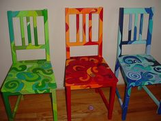 I love brightly painted furniture! These are fantabulous. :o)