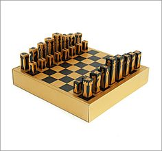 Chess Set Chess set designed and manufactured in the UK. Gold anodized aluminium board with matching weighted pieces. Two drawers. Chess Players, Chess Pieces, Vintage Games, Wood Toys, Chess Boards, Wood Carving, Cool Gifts, Wood Crafts, Board Games