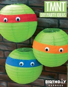 One of the easiest DIY party decorations ever – For a Teenage Mutant Ninja Turtle party, wrap bands of colored crepe paper around paper lanterns, and adds on some googly eyes. TMNT have officially arrived! Learn more about Ninja Turtles birthday party ideas for kids on Birthday Express.