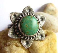 Turquoise Ring -  Argentium Sterling Silver Flower Ring - Size 6 Ring - Silversmith Jewelry - Rustic Tribal Inspired Ring