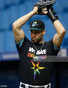 Kevin Kiermaier, TB, wears a t-shirt honoring the victims of the Orlando killings of June 12 on Pride Night in Tampa//June 17, 2016