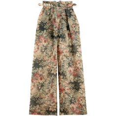 Zimmermann Floral Cavalier Buckle Pants ($695) ❤ liked on Polyvore featuring pants, wide-leg pants, high waisted floral pants, high rise pants, high-waisted wide leg pants and high-waisted trousers