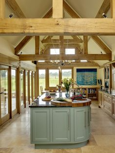 Border Oak - Kitchen extension with oak framing. again i like all the exposed wood and island. Open Kitchen And Living Room, Barn Kitchen, Farmhouse Kitchen Decor, Open Plan Kitchen, Kitchen Units, Kitchen Ideas, Kitchen Wood, Glass Kitchen, Country Kitchen Designs