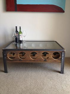 Love this industrial, reclaimed wine table by Michael Graham.  I so love shopping local and well I love wine too! :) Wine rack coffee table by MichaelGrahamDesigns on Etsy, $599.99