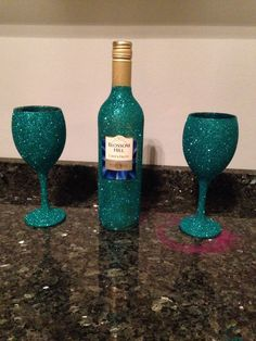 Glitter glasses, vases, bowls, wine bottles, handmade by myself and a friend.