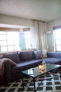 Cozy living room in gray, navy, and yellow. Ikea Manstad, Rugs USA, Target Threshold
