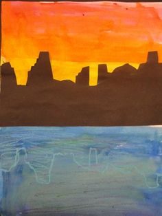 """Warm, Cool and Neutral Colored Cityscapes""  by Chloe902 (Art ID #11023764)   from Southeast Elementary— grade 2"