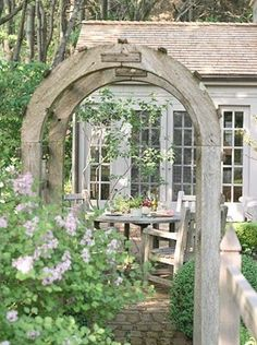 Romantic Cottage Garden, lovely transition idea from a garden or yard area to the patio