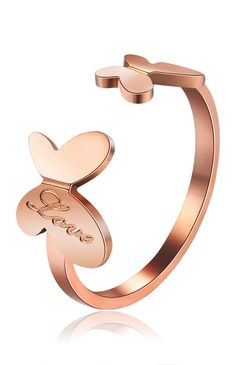 Rose gold butterfly ring