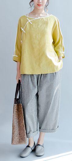 yellow linen casual blouse plus size vintage shirts mandarin