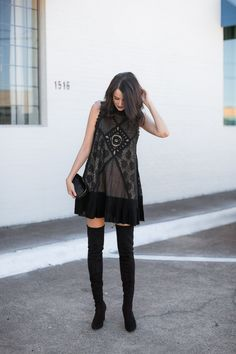 black free people angel shift dress, asos faux fur clutch, black over the knee boots