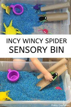 Simple to set up sensory bin for toddlers inspired by the Nursery Rhyme Incy Wincy Spider.#sensorybins #nurseryrhymes #toddleractivities #rainydaymum Nursery Rhyme Crafts, Nursery Rhymes Preschool, Nursery Rhyme Theme, Nursery Activities, Nursery Rhymes For Toddlers, Nursery Rhythm, Nursery Ideas, Toddler Sensory Bins, Sensory Tubs