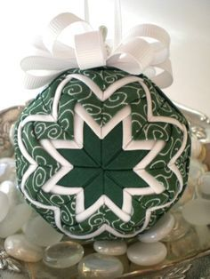 Handmade Quilted Christmas Ornament Green and White Swirl