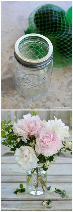 Flower Therapy: Arranging Tips, Tricks, and Medicine for the.-Flower Therapy: Arranging Tips, Tricks, and Medicine for the Soul Garden Bouquet Tips and Flower Arranging Hack using something you usually throw away! Arte Floral, Deco Floral, Floral Design, Pot Mason Diy, Mason Jar Crafts, Mason Jars, Diy Bouquet, Peonies Bouquet, Floral Arrangements