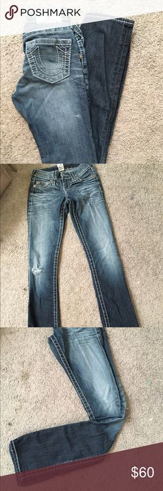 Good condition true religion jeans Worn a few times but still in good condition true religion jeans size 25 but will fit a size 24. True Religion Jeans Skinny