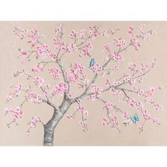 Oopsy Daisy Cherry Blossoms and Butterflies Wall Mural for sale online Baby Wall Art, Art Wall Kids, Wall Art Decor, Room Decor, Blush Color Palette, Stair Stickers, Butterfly Canvas, Cherry Blossom Tree, Flower Doodles