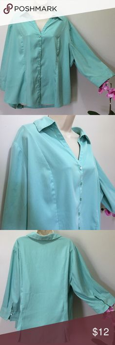 Cato Blouse Teal light weight, quarter length sleeve, button up blouse. Has jewels 💎 on the buttons. Gently worn. Small stain on inside of button (see photo 4) but cannot be seen while buttoned (see photo 5). 95% Polyester, 5% Spandex. Size 22/24W Cato Tops Button Down Shirts
