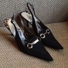 Check out DOLCE & GABBANA HORSEBIT BLACK SLINGBACK PUMPS HEELS, GORGEOUS! on Threadflip!