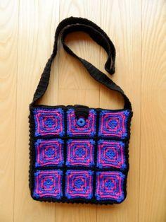 Bright Pink, Blue and Black Handbag Bright Pink, Pink Blue, Black Handbags, Black Purses, Black Bags