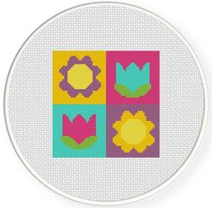 Charts Club Members Only: Flower Blocks Cross Stitch Pattern