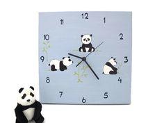 kids clock panda bears  blue baby boys clock for by Shellyka, $32.00