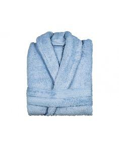 Albornoz de rizo 100% algodón en color azul claro. Diseño y calidad en este albornoz tan suave y barato. Descubre todos los colores disponibles en Revitex online