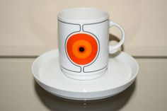 Mid Century Modern Eclipse coffee cup and saucer.. Designed by Hans Theo Baumann and Barbara Brenner for Thomas Germany in the late 60's..