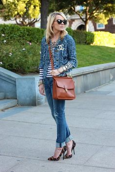 In love with Chanel Jacket and brooch, the striped Tee and the leopard heels top it off perfectly. ~Sarah