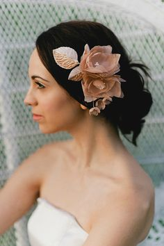 Handmade silk flowers in blush with millinery by olivefarmdesigns, $150.00