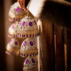 Different combination of white stone and purple stone work kaliras. Image- Pinterest via Japjit - bollywoodshaadis.com