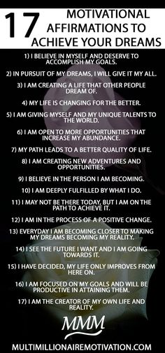 17 Motivational Affirmations to Achieve your Dreams. affirmations law of attraction. Words of firmations success motivation. mantras to live by affirmations repeat. affirmations money w Motivational Affirmations, Affirmations Positives, Daily Positive Affirmations, Morning Affirmations, Motivational Quotes, Affirmations Success, Affirmations For Success, Motivational Activities, Inspirational Quotes