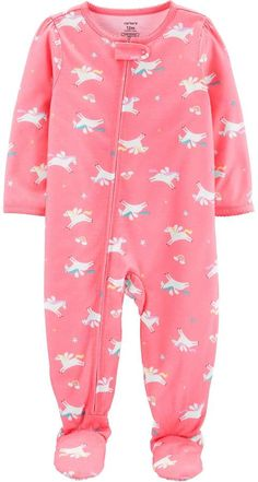 NWT The Childrens Place Flamingo Reindeer Girl Christmas Footed Sleeper Pajamas