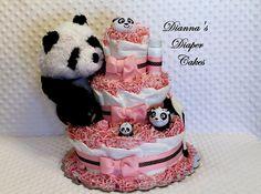 baby girl shower diaper cakes | Baby Diaper Cake Panda Pink Girls Shower Gift Centerpiece Newborn ...